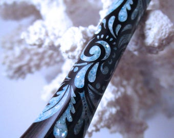 """The """"Princess Eve"""" Feathers Hair Stick Featuring African Blackwood inlaid with Light Blue Fresh Water Pearls"""