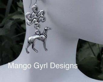 Greyhound Eternity Earrings, Greyhound Earrings, Greyhound Celtic Earrings, Greyhound Celtic, Greyhound, Greyhound gifts, Greyhound Jewelry