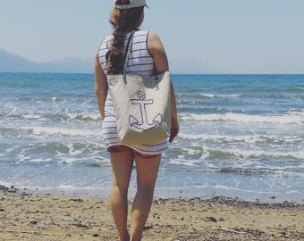 Nautical Anchor Tote, Beach Bag, Linen Embroidered Beach Tote Natural Linen with Leather Bag