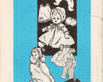 """Vintage Doll Clothes Pattern for 16"""" Doll, Anne Adams 4870 Size 16 Inch Baby Doll Wardrobe Dress Coat Snowsuit Uncut Vintage Sewing Pattern"""