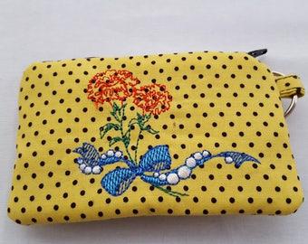 Zipper Mini Wallet Pouch Key Chain Card holder - Yellow Black Polka Dots Machine Embroidery Flower