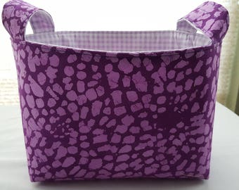 Fabric Organizer Basket Storage Container Bin - Purple Lavender Spots