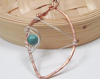 Copper Pendant Mixed Metal Pendant Wire Wrapped Necklace Adjustable Necklace