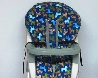 Graco double tray high chair cover replacement, baby chair pad, highchair cushion, feeding chair pad, kids chair, nursery decor, ponies