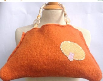 SALE Handmade orange felted wool purse lined with Amy Butler mid century modern orange yellow fabric Hand appliqued detail Beaded handle Upc