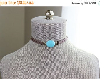 VACATION SALE- Turquoise Leather Choker. You choose leather color