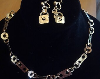 1950s Modernist Necklace and erring set. Gold fill, marked.
