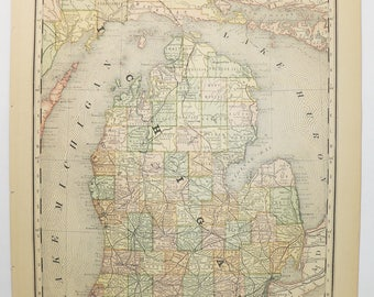 Vintage Michigan Map Etsy - Map for michigan