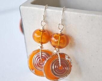 SALE Orange Earrings, Lampwork Earrings, Glass Bead Earrings, Long Earrings
