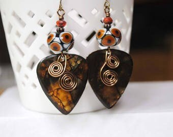 Earthy Earrings, Brown Earrings, Guitar Pick Earrings, Hand Painted Earrings, Cold Enamel Earrings, Lampwork Bead Earrings, Boho Earrings