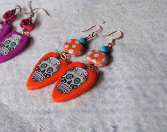 Halloween Earrings, Orange Sugar Skulls, Polymer Clay Earrings, Heart Earrings, Colorful Earrings, Large Earrings, Whimsical Earrings