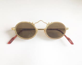 Vintage 1990's Koure Round Gold Sunglasses