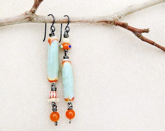 Asymmetric Lampwork Earrings, Aqua Mint Green, Orange, Niobium, Non-allergenic, Sensitive Ears, Silver, Boho Beach, Summer, Handmade Jewelry