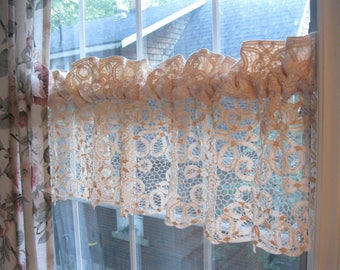 Battenburg Tape Work Netted Lace Ecru Valance, Lace Curtain, Shabby French Decor, Lacy Window Treatment, by mailordervintage on etsy