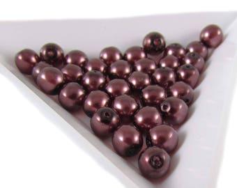 "6mm burgundy pearl-coated Czech glass druk 8"" strand (33 beads). Wedding, bridal, bridesmaids jewelry, elegance, Mother's Day"