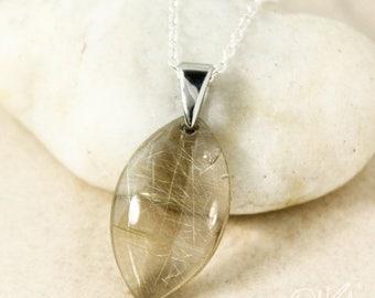 ON SALE Silver Golden Rutile Quartz Leaf Necklace - Golden Rutile Needles - Natural Rutile Quartz