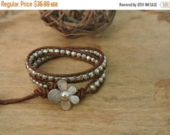50% OFF SALE Hearts Delight Pewter Beaded Leather Wrap Bracelet