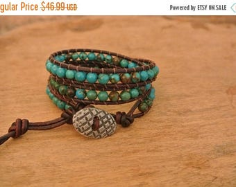 50% OFF SALE Adora Turquoise Leather Beaded Wrap Bracelet