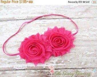 Hot Pink Flower Headband, Hot Pink Chiffon Rosettes Duo Stretchy Hot Pink Headband - Baby Child Toddler Girls Headband