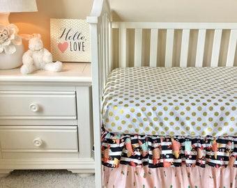 Floral Stripe Crib Skirt, Floral Crib Skirt, Blush Pineapple Crib Skirt, Blush Ruffled Crib Skirt, Gold Dot Ruffled Crib Skirt