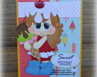 Birthday Summer Ice cream Girl Handmade Paper Piecing 3D Greeting Card