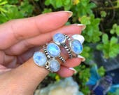 Rainbow Moonstone Ring, Sterling Silver Ring, Crystal Ring, Gemstone, Bohemian, Boho, Gypsy, Hippie, Witch, Energy, Reiki, size 7 Ring