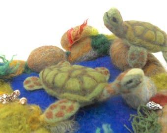 Felted sea turtles, sea turtles in pool, rock pool sea turtles, waldorf, play mat, needle felted turtles, play school, nature table