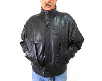 Vintage Black Leather Jacket Biker Motorcycle Warm Leather Jacket Mens  X Large