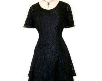 SALE Vintage  Black Lace Dress - 80s Cascading Skirt,  Medium