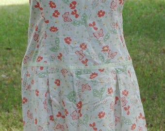 SUMMER SALE Vintage Sundress 60's Orange Butterflies and Floral on White