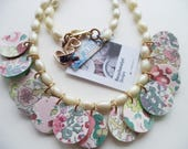 Handmade - Liberty of London Fabric Necklace - Covered Buttons Necklace - Springtime - Buttons and Pearls Necklace - Floral Necklace - OOAK