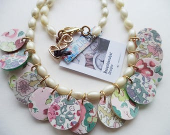 Liberty Fabric Covered Buttons with Pearls Necklace - Eco Gift - Floral Necklace - OOAK - 2 Sided - Handmade jewelry from recycled items