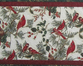 Cardinals and Holly Winter Christmas Quilted Table Runner Quiltsy Handmade