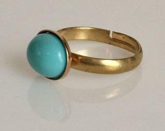 Jane Austen Inspired Gold Turquoise Oval Gemstone Ring