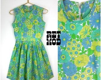 Cute Cute Cute Vintage 60s Green, Yellow & Blue Floral Cotton Dress