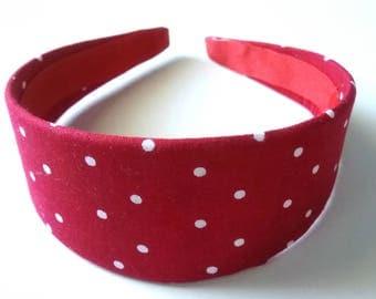 Red & White Polka Dot Headband 2 Inch