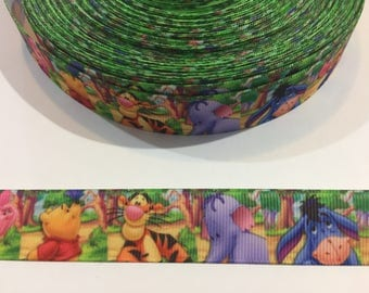 3 Yards of 7/8 inch Ribbon -Winnie the Pooh and Friends in the Forest