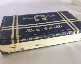 Vintage Blue Cross Metal First Aid Kit