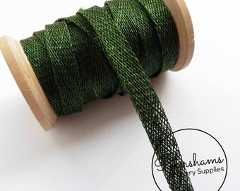1cm Sinamay Bias Binding Tape Strip (1.6m/1.7yards) for Millinery & Hat Making - Bottle Green