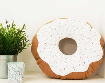 Large White Doughnut Cushion with sprinkles, ring donut pillow, plush donut, plush doughnut, food pillow, kids bedroom decor, circle pillow