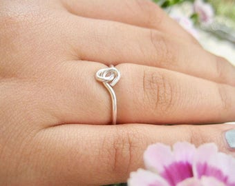 Sterling Silver Stacking Rings, Love Ring, Knot Love Ring, Promise Ring, Mini Ring, Minimalist Ring, Minimalist Jewelry, Ring Under 30