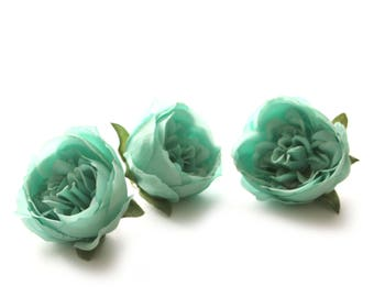 3 Small LIGHT TEAL Cabbage Peonies  - Artificial Flower Heads