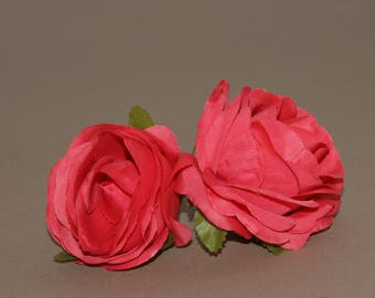 2 Rich Coral Roses  - Artificial Flower Heads, Silk Flowers