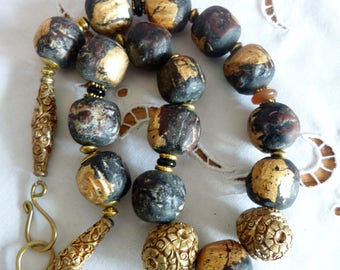 Contemporary Tibetan Clay Buddha Beads with Gold Leaf and gilt copper beads necklace