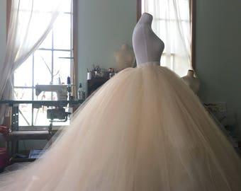 Tulle wedding skirt, bridal skirt, over skirt, tulle skirt, ivory skirt, blush skirt, blush bridal skirt, convertible dress