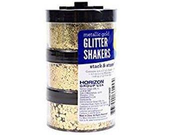 Metallic gold Stacked Glitter Shakers Set  for DIY SLIME