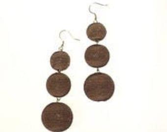 Brown 3 ball Bon Bon style earrings.