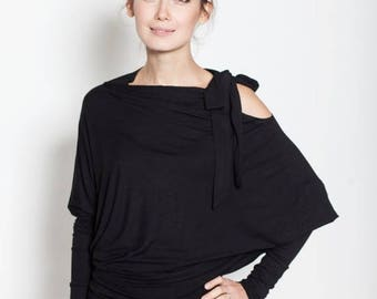 SALE - Black Viscose Asymmetric LeMuse Blouse with a bow on the shoulder