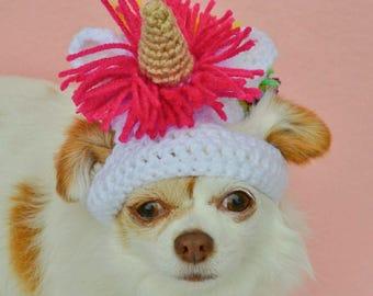 Dog Halloween Costume - Unicorn - Pet Costume - Cat Costume - Dog Unicorn Hat - Cat Unicorn Hat - Rainbow - Crochet - Large Dog Costume