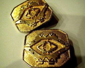 Vintage Signed LES BERNARD Etruscan Hieroglyphic Clip Earrings